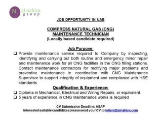 Maintenance Technician ( Compress Natural Gas CNG)