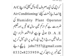 Air Conditioning Humidity Plant Operator