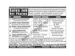 Central & South Punjab,Lahore,Rawalpindi, Multan,AJK, Bahawalnagar, Rahimyarkhan) Marketing Manage/ Zonal Sales Manager/Sales Promotions Officer-
