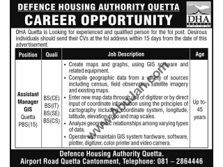 ASSISTANT MANAGER GIS - QUETTA