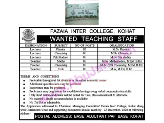 LECTURERS & TEACHERS REQUIRED - FAZAIA INTER COLLEGE ,KOHAT