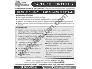HEAD OF NURSING - FAISALABAD HOSPITAL