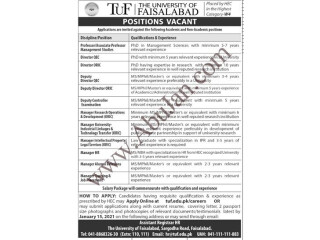 THE UNIVERSITY OF FAISALABAD POSITION VACANT
