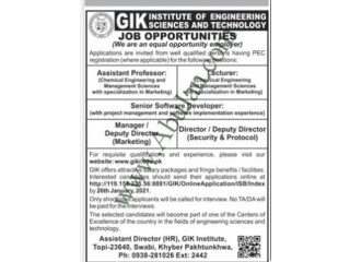 Assistant Professor// Lecturer// Manager Deputy Director Marketing// Deputy Director Security & Protocol-(GIK Institute of Engg Sciences and Tech)