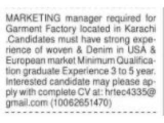 Marketing Manager for Garment Factory