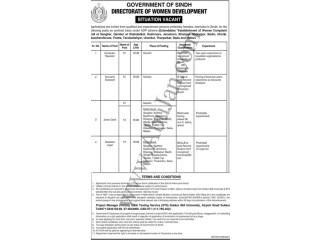 Computer Operator// Accounts Assistant// Junior Clerk// Assistant Legal -(Directorate of Women Development- Government of Sindh)