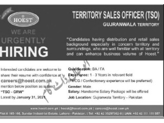 TERRITORY SALES MANAGER TSA -HOEST