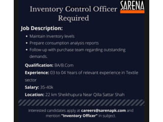 Inventory Control Officer Required