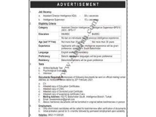 ASSISTANT DIRECTOR INTELLEGENCE AD(I) // INTELLEGENCE SUPERVISOR | Jobs in Baluchistan| -Turbat