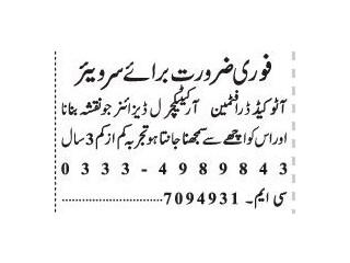 AUTOCAD DRAFTMAN // ARCHITECTURE DESIGNER  Jobs In Lahore  