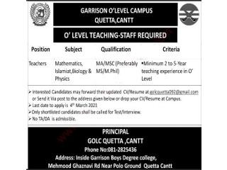 TEACHERS REQUIRED - Garrison O Level Campus Quetta Cantt | School Teaching Jobs |