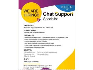 CHAT SUPPORT SPECIALIST - Pluton Ltd - | Online Job| | Chat Support Jobs |