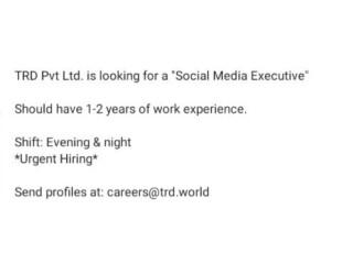 SOCIAL MEDIA EXECUTIVE - TRD PVT LTD |Jobs in Karachi |