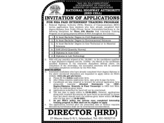 NHA PAID INTERNSHIP TRAINING PROGRAM - GOVERNEMENT OF PAKISTAN MINISTRY OF COMMUNICATIONS NATIOANL HIGHWAY AUTHORITY HRD CELL