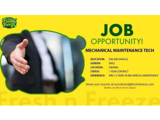 MECHANICAL MAINTENANCE - Fresh N Freeze - |Jobs in Sahiwal ||Jobs in Pakistan| | Punjab Job|