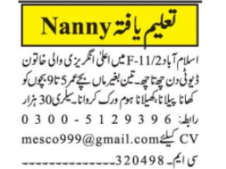 Nanny required -English spoken