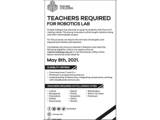 TEACHERS REQUIRED FOR ROBOTICS LAB- |Jobs in Punjab Colleges| |Jobs in Punjab|