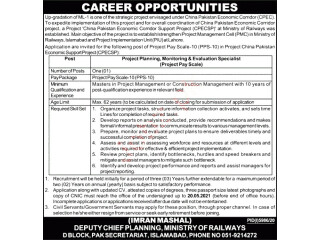PROJECT PLANNING MONITORING & EVALUATION SPECILIST - CPEC (ML-1 Upgradation Project)-  Jobs in Islamabad   Jobs in Pakistan  CPEC Jobs 