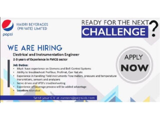 ELECTRICAL AND INSTRUMENTATION ENGINEER -  Jobs in Pepsi    Jobs in Islamabad  