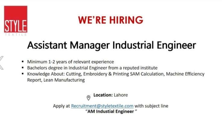 assistant-manager-industrial-engineer-style-textile-textile-jobs-job-in-lahorejobs-in-punjab-big-0