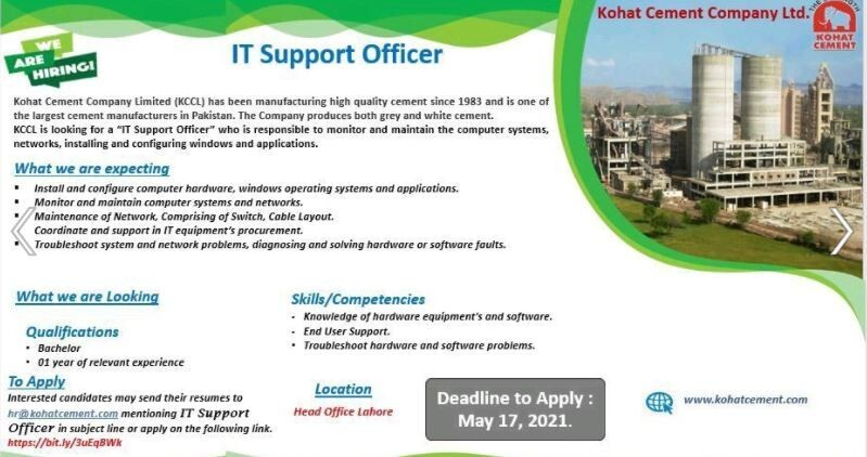 it-support-officer-kohat-cement-jobs-in-lahore-it-jobs-it-support-jobs-big-0