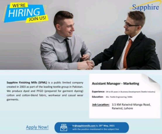 assistant-manager-marketing-sapphire-finishing-mills-sfml-jobs-in-lahore-jobs-in-textile-big-0