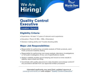 QUALITY CONTROL EXECUTIVE - Martin Dow -  Jobs in Pharmacy    Jobs in Quality Control 