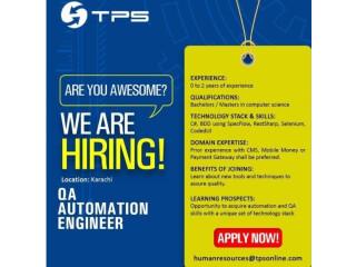QA AUTOMATION ENGINEER - TPS |Jobs in Karachi| |Jobs in TPS|