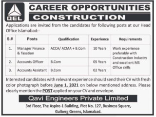 MANAGER FINANCE & TAXATION // ACCOUNTS OFFICER // ACCOUNTS ASSISTANT - QEL Construction - |Jobs in Islamabad||Jobs in Pakistan|