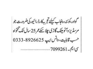 DRIVER MERDEDES AUTOMATIC ( QUETTA, GAWADAR, PUNJAB)| | Jobs in Pakistan|
