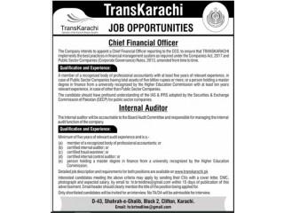 CHIEF FINANCIAL OFFICER // INTERNAL AUDITOR- Trans Karachi |Jobs In Karachi | |Jobs In Pakistan | | Jobs in Greenline|