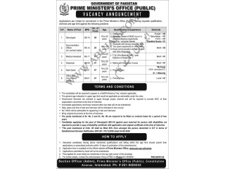 STENOTYPIST// DOC OFFICER//MEDICAL ASSISTANT//DISPENSER//NAIB QASID //OFFICE BOY- Prime Ministers Office - | Government Job in Pakistan|