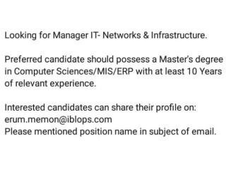 MANAGER IT NETWORKS & INFRASTRUCTURE- | Jobs in Karachi| | Jobs in Pakistan|