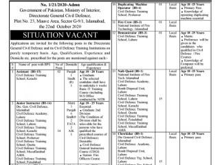 Govt Job CIVIL DEFENCE- PUNJAB -Instructor/ Stenotypist/ NaibQasid/ Driver/ Mali/ Sweeper /Chowkidar/ COOK/ Frash/ LDC/