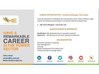 ASSISTANT FLOOR MANAGER - Call Center - KE - | Jobs in KE || Jobs in Karachi|