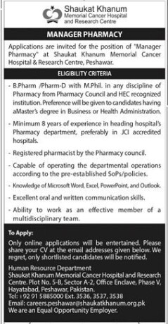 manager-pharmacy-shaukat-khanum-memorial-cancer-hospital-and-research-center-jobs-in-hospital-jobs-in-peshawar-big-1