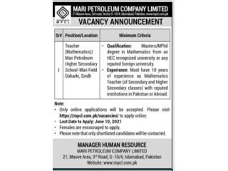 Teacher Mathematics - Mari Petroleum Company Limited School Daharki Sindh- | Jobs in Daharki| |Jobs in Sindh|