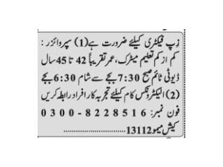 SUPERVISOR// ELECTRONICS TECHNICIAN- Zip Factory - |Jobs in Karachi| |Jobs in Pakistan|