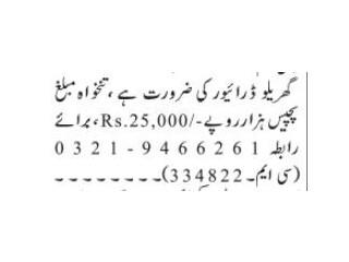 DRIVER ( Domestic ) - |Jobs in Islamabad ||Jobs in Pakistan| | Driver Job|