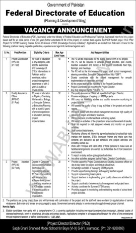 project-assistant-quality-assurance-officer-project-cooridinator-federal-directorate-of-education-fde-jobs-in-islamabad-jobs-in-pakistan-big-0