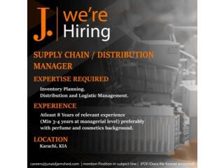 Supply Chain // Distribution Manager- Junaid Jamshed (J.) - | Jobs in Karachi| | Jobs in J.|