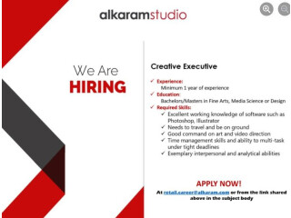 CREATIVE EXECUTIVE Required - Alkaram Studio- |Jobs in Karachi | |Jobs in Pakistan|