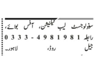 Snologist |Lab Technician| Office boy | Jobs in Lahore | Jobs in Pakistan