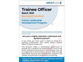 Trainee Officer Batch 2021 Specialized Functions- Asakari Bank-| Jobs in Karachi| | Jobs in Paksista|