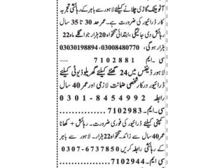 DRIVER ( 3 Positions)- |Jobs in Lahore|| Driver Jobs in Lahore|