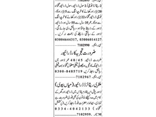 Driver (6 Positions)- |Jobs in Lahore|| Driver Jobs in Lahore|