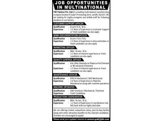 Customer Support// Bank Documentation// Marketing// Quality Control// Maintenance Officer// Machine Operator// Production Coordinator -YKK Pakistan
