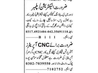 ELECTRICIAN // PLUMBER // CNC Operator - | Jobs in Lahore| | Jobs in Punjab | |Plumber jobs| Electrician job