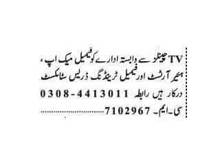 Make Up Artist (Female)// Trending Dress Stylist (Female)- TV Channels -   Jobs in Lahore 