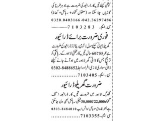 DRIVER ( 3 Positions) // COOK-  Jobs in Lahore   Driver Jobs in Lahore 